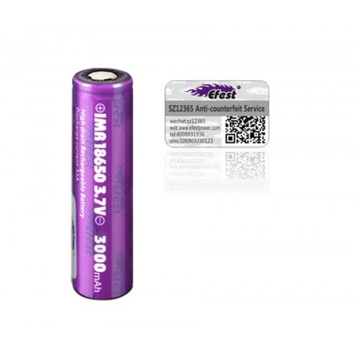 Μπαταρία EFEST Purple IMR 18650 3000mAh 3,7V